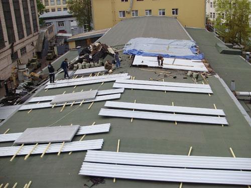 ремонт кровли на ОАО «Водтрансприбор», замена профлиста